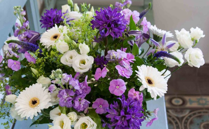 Mixed flower bouquet in shades of purple and violet