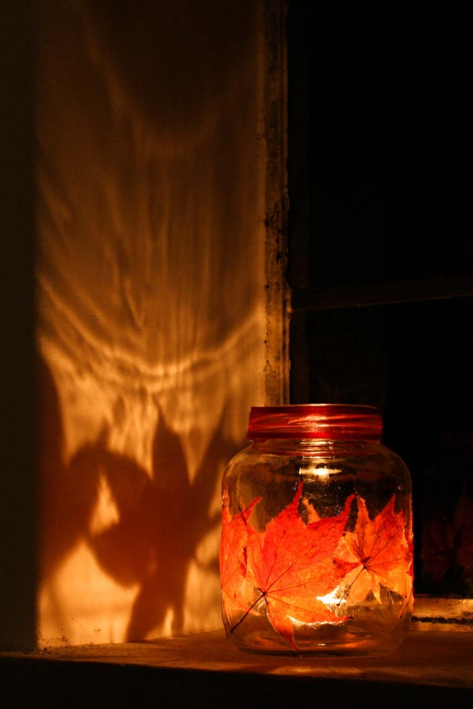 You can also use the leaves to make pretty lanterns, by applying leaves to an empty jar. Place a candle inside and watch it light the room with beautiful orange and red autumn colours - Cloverhome.nl