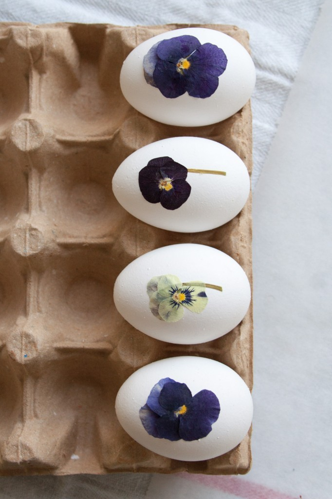DIY pressed flower Easter eggs – This Easter egg decorating idea is an easy and affordable project. All you need are eggs and pressed flowers. I used pansies because they are some of the best flowers to dry. They are small and flat and they seem to hold their colour very well. Simply apply them to the eggs using wallpaper paste - Cloverhome.nl