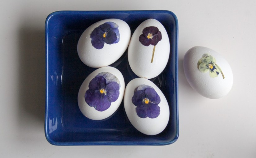 DIY pressed flower Easter eggs