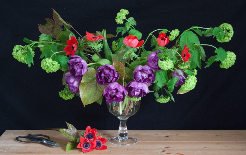 Bring spring into your home by making a spring flower arrangement using tulips, anemones and snowball viburnum. With step-by-step instructions - Cloverhome.nl