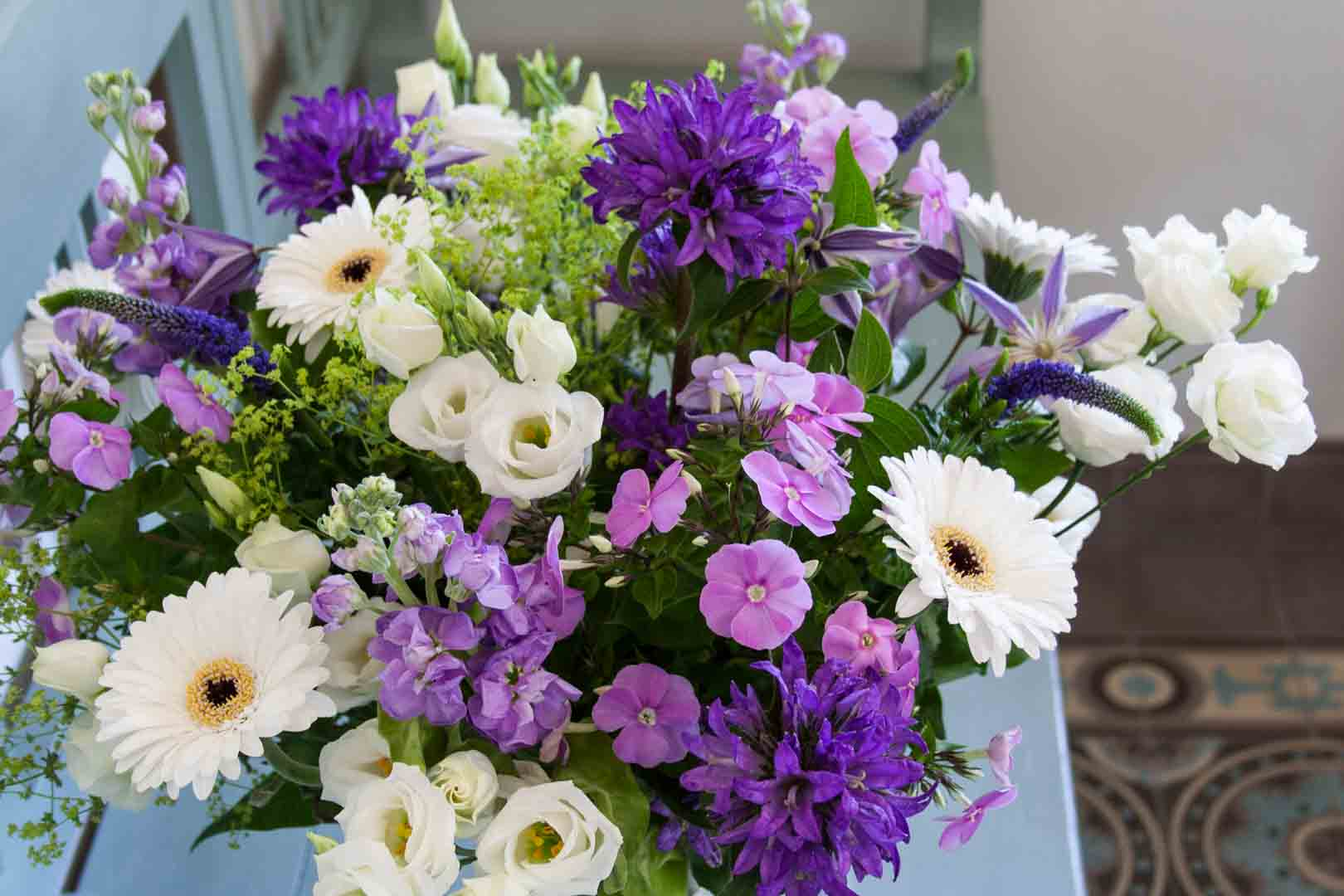 Bouquets archieven cloverhome mixed flower bouquet in shades of purple and violet izmirmasajfo Images