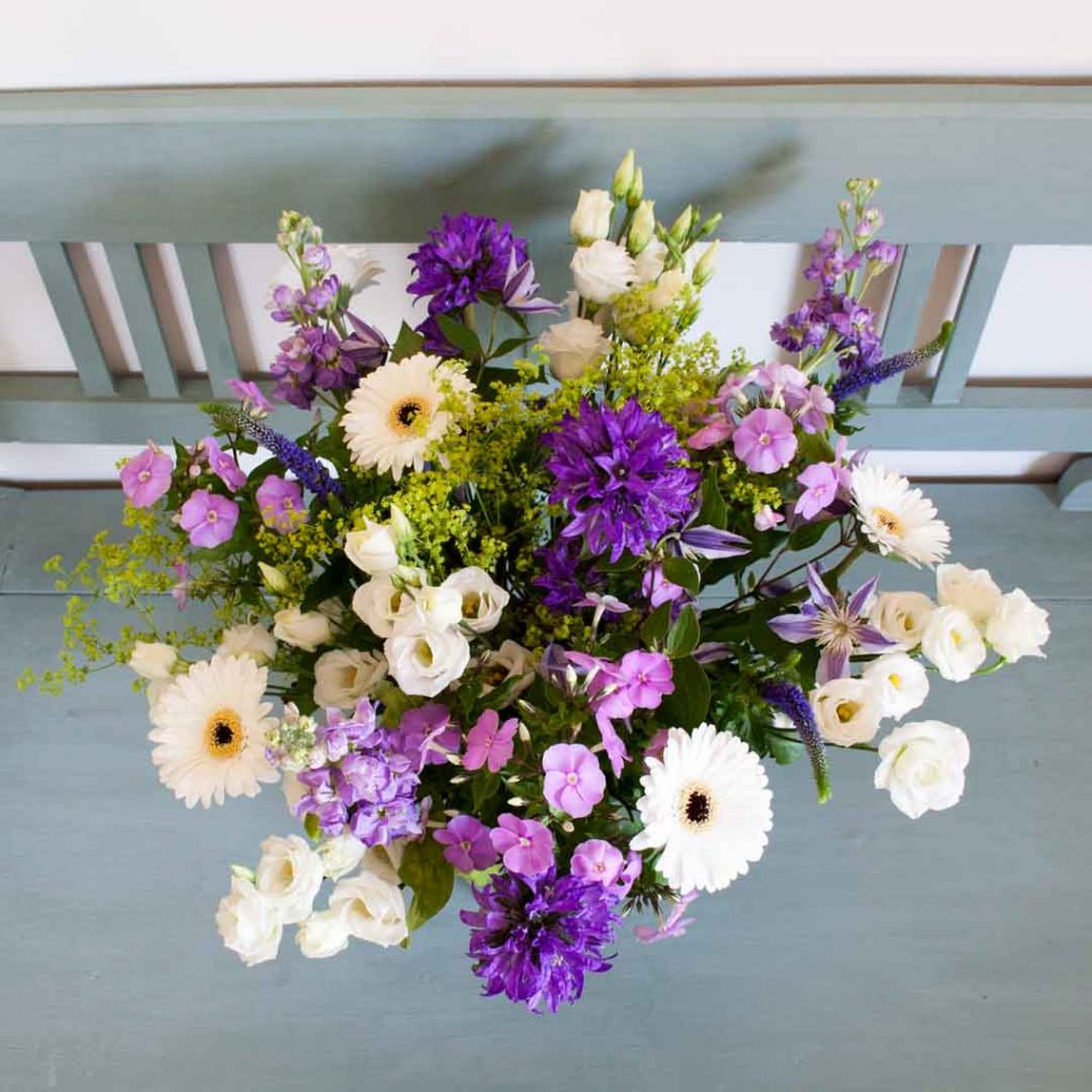 Mixed flower bouquet in shades of purple and violet cloverhome do you know what the ingredients of a perfect mixed flower bouquet are a mixed izmirmasajfo Images