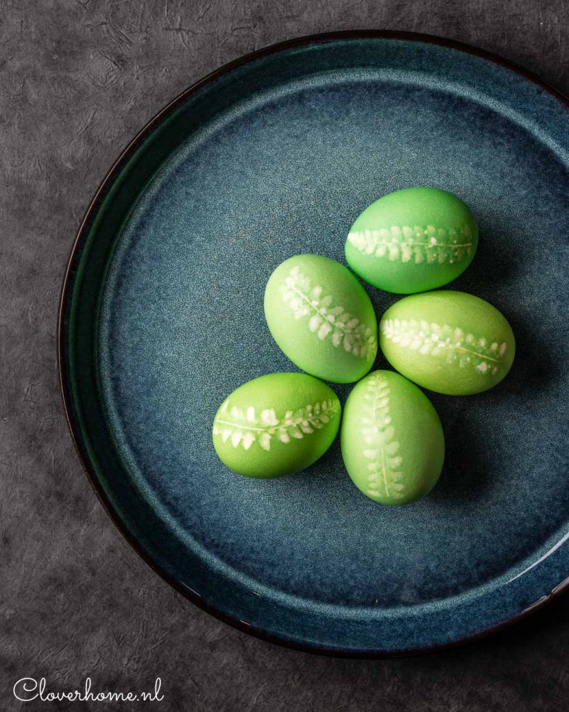 These botanical Easter eggs are an easy and inexpensive Easter decoration. All you need are eggs, egg dye and some fern leaves from your garden - Cloverhome.nl